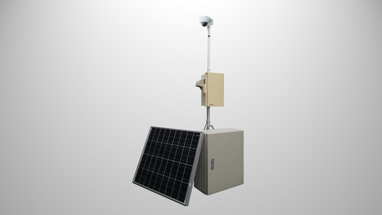 <h3>Type-D</h3> <p>・IPカメラ<br>・LTE/ルーター<br>・設置柱(1.75m、十字架台付き)<br>・太陽光発電+バッテリー</p>のサムネイル